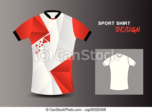 T Shirt Design Line Art : Red and white sport shirt design vector illustration