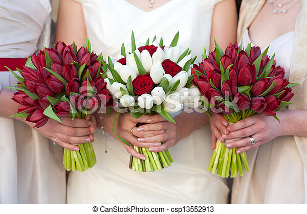 red and white tulip and rose wedding bouquets - csp13552913