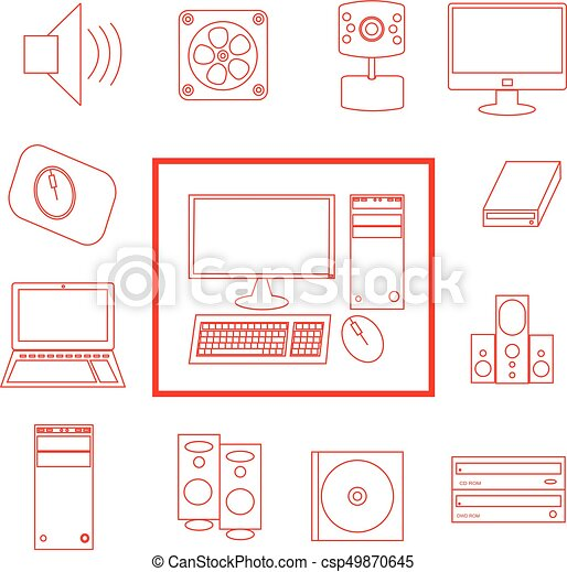 Red and white vector computer icon set - csp49870645
