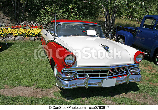 red and white vintage car - csp0763917