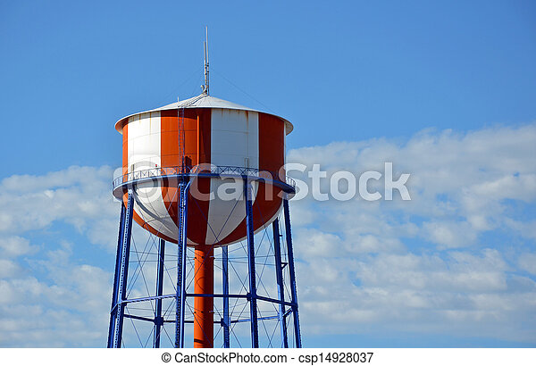 Red and white water tower - csp14928037