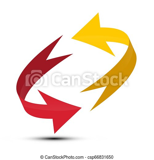 Red and Yellow Arrows Spinning in Circle. Vector Double Arrow Symbol. - csp66831650