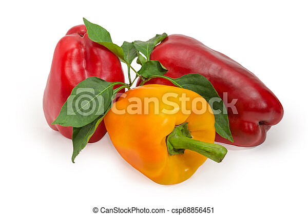 Red and yellow bell peppers and twig with leaves - csp68856451