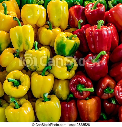 Red and yellow bell peppers - csp49838526