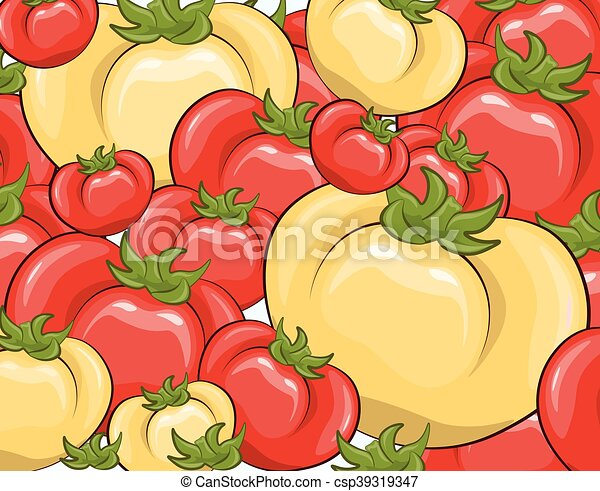 Red and yellow tomatoes background - csp39319347