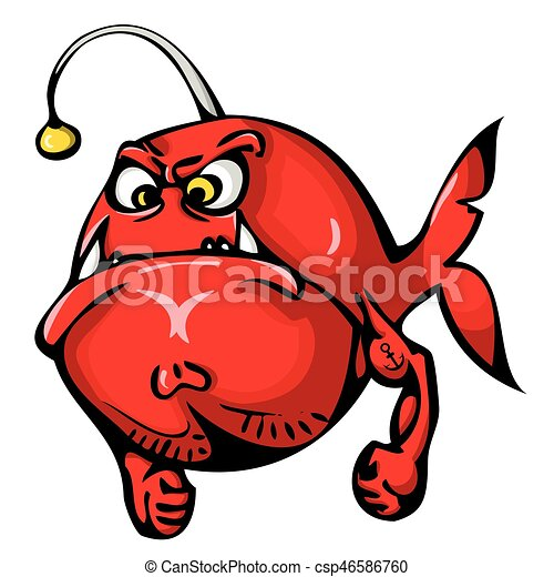 Red angry fish with tattoo on hand isolated on white for Angry fish sushi
