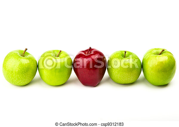 Red apple among green apples isolated on a white  - csp9312183