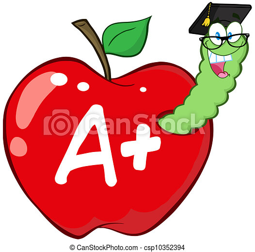 Red Apple And Letter A  - csp10352394