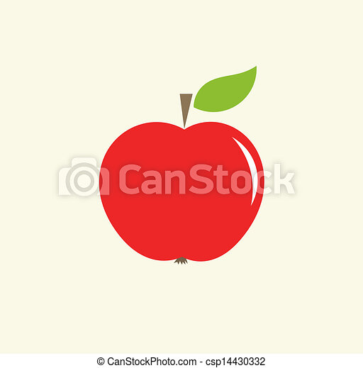 red apple with leaf vector illustration