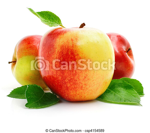 red apple fruits with green leaves - csp4154589