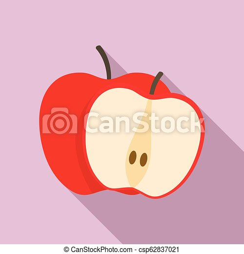 Red apple icon, flat style - csp62837021