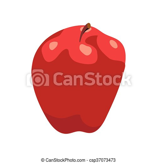 Red apple icon in cartoon style - csp37073473