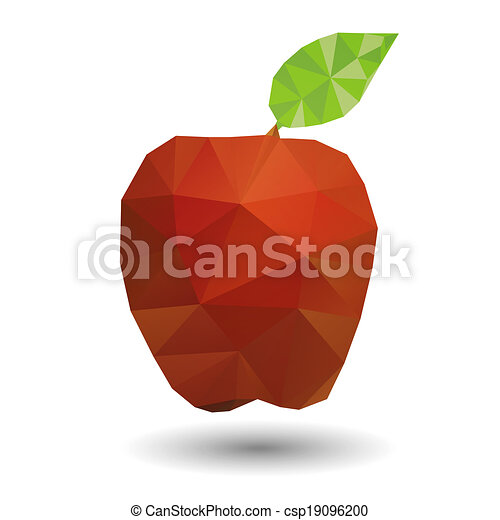 Red apple in geometric origami styl - csp19096200