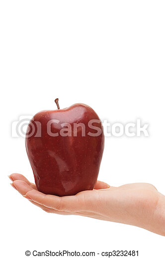 Red apple in woman hand isolated - csp3232481