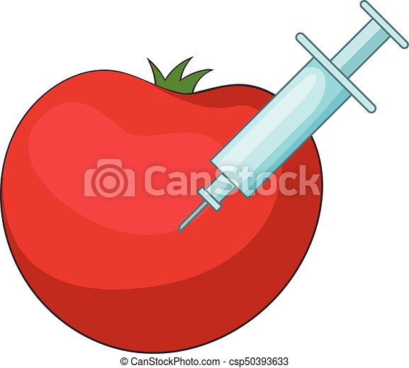 Red apple inject icon, cartoon style - csp50393633