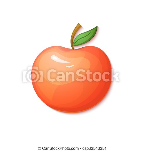 Red apple, vector illustration in cartoon style - csp33543351