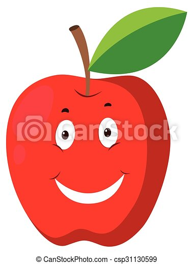 Red apple with happy face - csp31130599