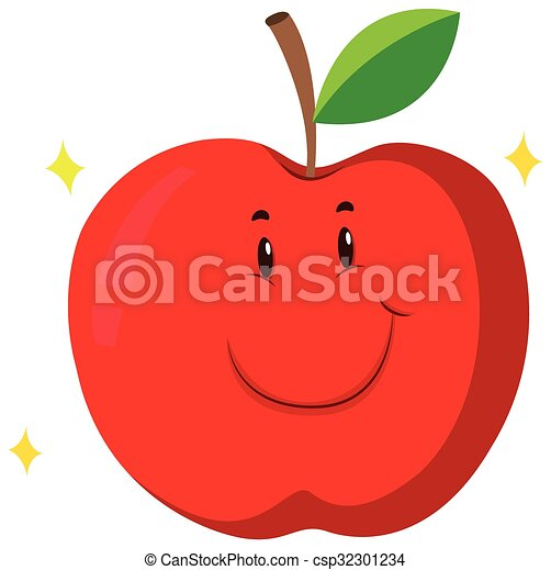 Red apple with happy face - csp32301234