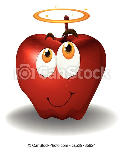 Red apple with happy face - csp29735924