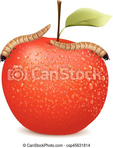 Red apple with two worms on it - csp45631814