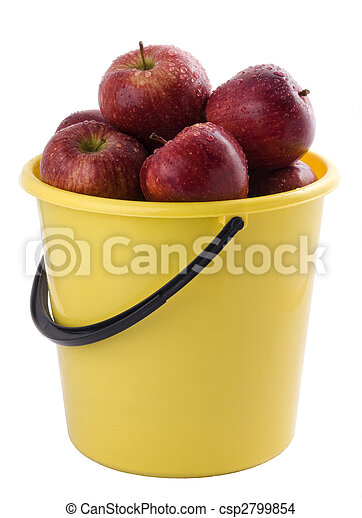 red apples in a yellow bucket - csp2799854