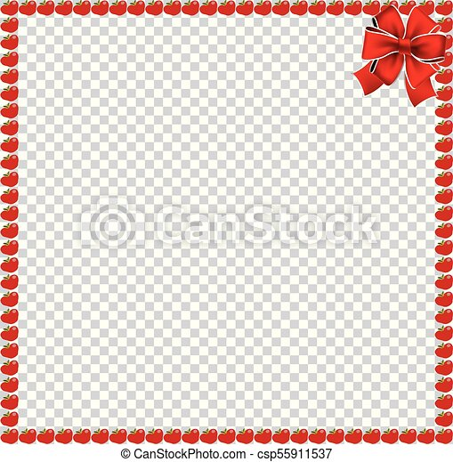 Red apples square border with festive ribbon - csp55911537