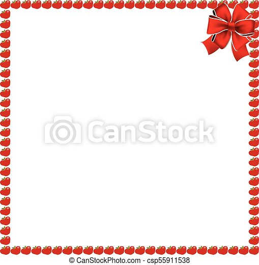 Red apples square photo frame with festive bow - csp55911538