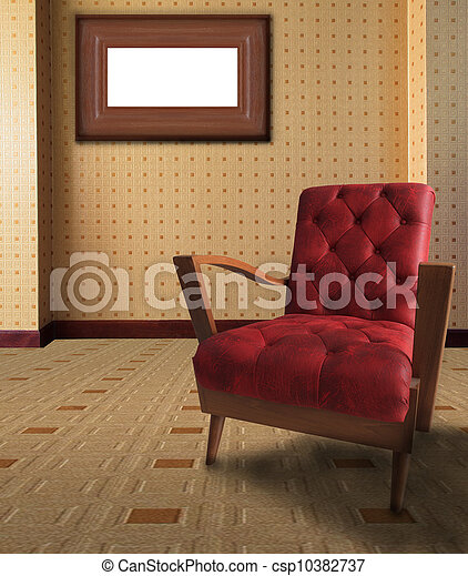 red arm chair in living room with p - csp10382737