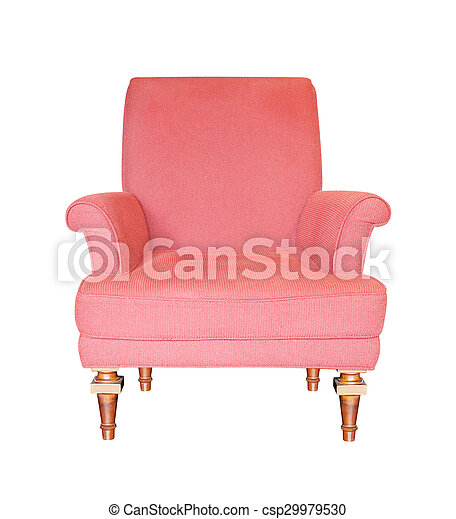 red armchair isolated on white background - csp29979530