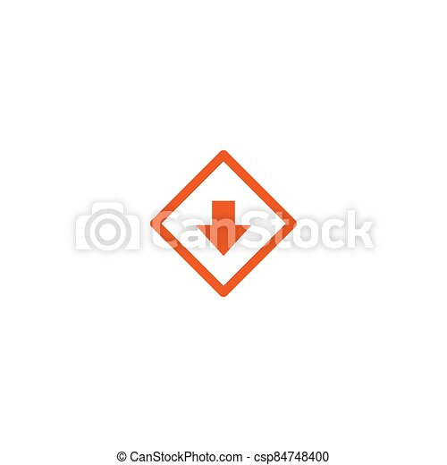 red arrow down in rhomb square. flat icon. download sign. isolated on white. - csp84748400