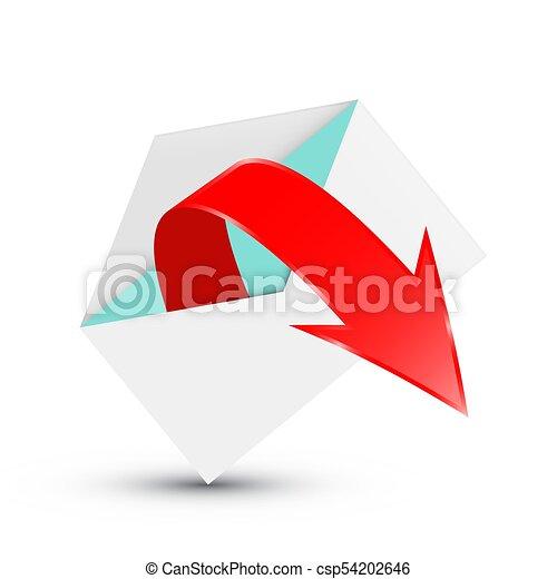 Red Arrow in Open Envelope - csp54202646