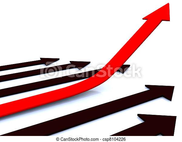 red arrow rising up - csp8104226