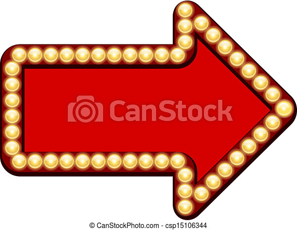 vector red arrow with light bulbs isolated on white background rh canstockphoto com