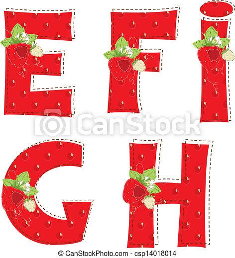 red atrawberry alphabet. Letter E, F, G, H, I - csp14018014