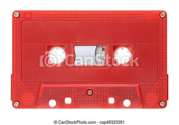 Red audio cassette isolated on background - csp48323381