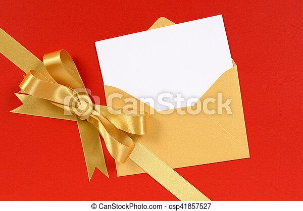 Red background gold christmas gift ribbon bow with blank invitation red background gold christmas gift ribbon bow with blank invitation or greetings card diagonal csp41857527 stopboris Images