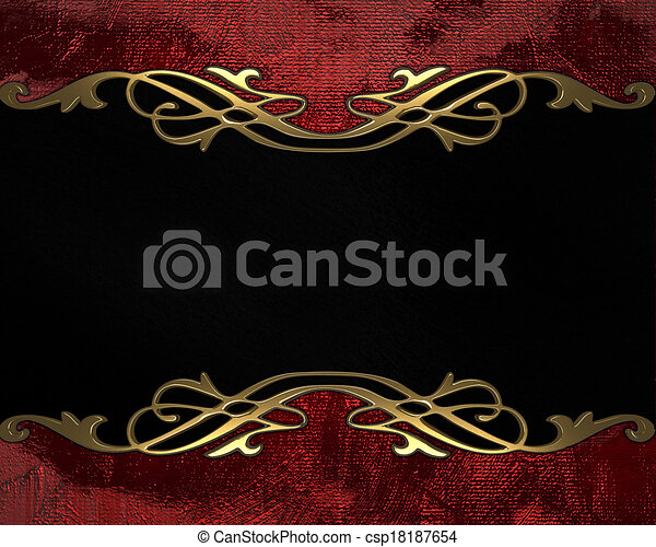 red background with black plate and gold trim design template