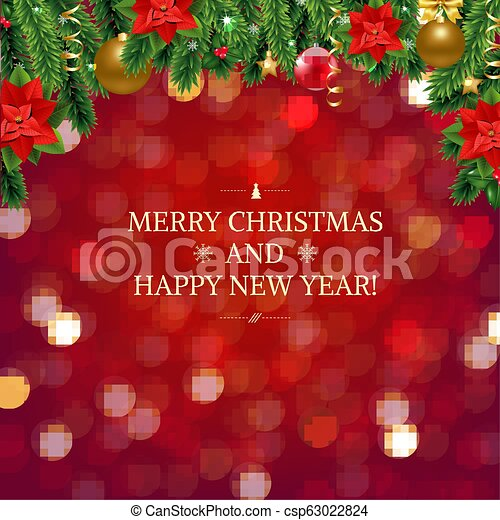 Red Background With Bokeh And Xmas Border - csp63022824