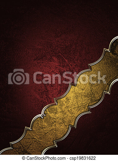 Red background with decorative gold cutout. Design template. - csp19831622