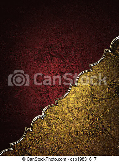 Red background with decorative gold angle. Design template. - csp19831617