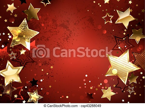 Red background with gold stars - csp43288049