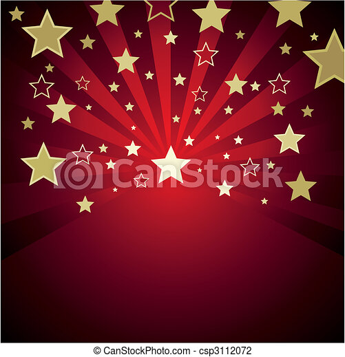 red background with gold stars - csp3112072