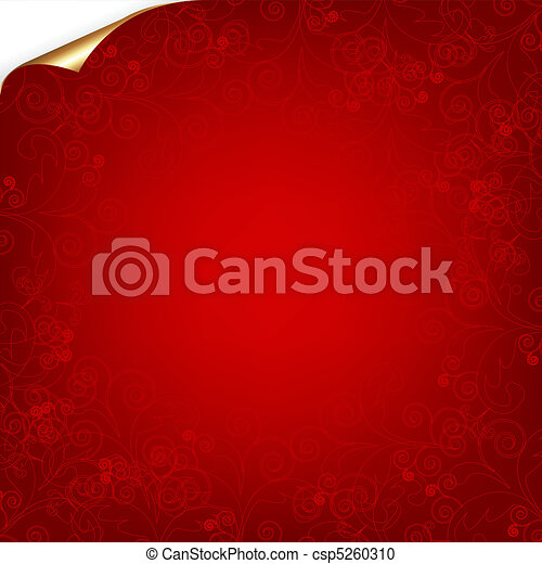 Red Background With Pattern And Gold Corner - csp5260310