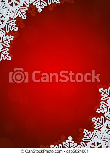 Red Background with Snowflakes in Border. Space for Text - csp5024061