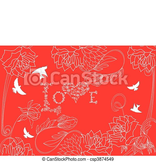 Red background with vintage flowers - csp3874549