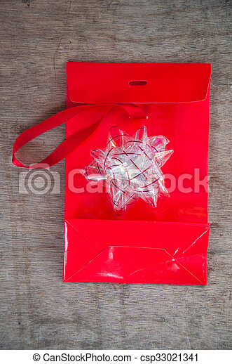 Red bag with and bow - csp33021341