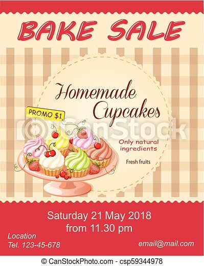 red bake sale promotion flyer with cupcakes on the plate colorful