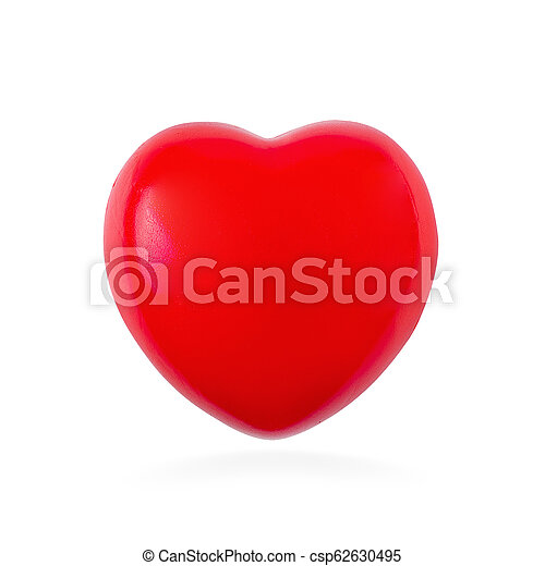 Red ball foam with shape heart isolated on white background - csp62630495