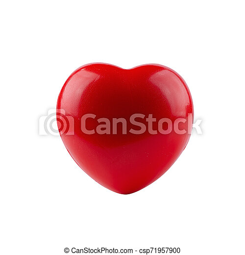 Red ball foam with shape heart isolated on white background - csp71957900