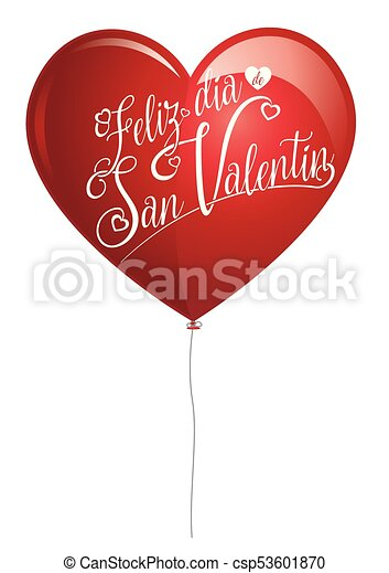 Red Balloon In The Shape Of A Heart With The Message Feliz Dia De